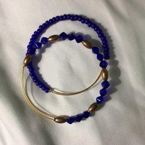 Alex & Ani royal blue vintage beaded bangles